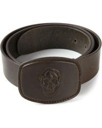 Alexander McQueen Gray Skull Belt - Lyst