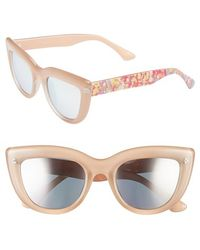 Isaac Mizrahi New York | 50mm Cat Eye Sunglasses - Purple/ Pink Floral | Lyst
