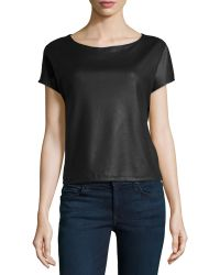 Max Studio Fauxleather Boxy Top - Lyst
