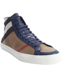Burberry Tan and Blue Nova Check Canvas Lace Up High Top Sneakers - Lyst