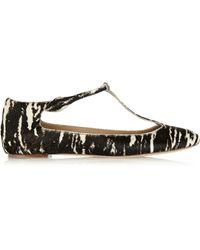 Isabel Marant Luella Printed Calf Hair T-bar Ballet Flats - Lyst