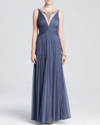 Adrianna Papell Gown  Sleeveless Jewel Illusion Neck Ruched - Lyst