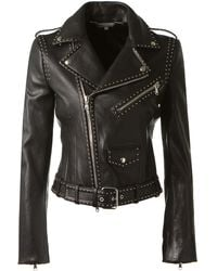 Alexander McQueen Black Studded Leather Biker Jacket - Lyst
