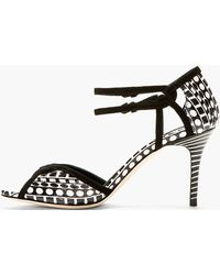 Brian Atwood Black and White Snakeskin Geometric Heeled Sandals - Lyst