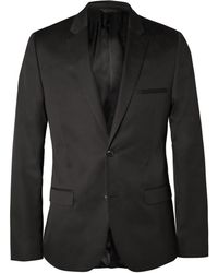 CALVIN KLEIN 205W39NYC - Black Crosby Slim-Fit Cotton And Silk-Blend Suit Jacket - Lyst