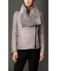 Burberry Shearling Aviator Jacket With Oversize Collar - Lyst
