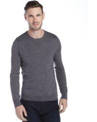 Burberry Brit Grey Merino Wool V-Neck Sweater - Lyst