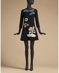 Dolce & Gabbana | Flared Dress In Crepe With Appliques | Lyst
