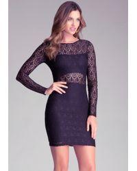 Bebe Cutout Lining Lace Dress - Lyst