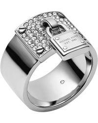 Michael Kors Silvertone Pave Padlock Ring - Lyst