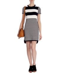 Karen Millen Stripe Knit Dress - Lyst