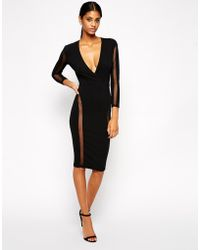 Tfnc Bodycon Dress with Spot Mesh Inserts - Lyst