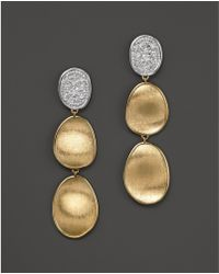 Marco Bicego - Diamond Lunaria Three Drop Small Earrings In 18k Gold - Lyst
