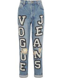 Ashish Vogue Embellished High-rise Boyfriend Jeans - Lyst