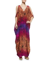 Lazul Kaya Printed Rainbow Caftan W/ Cold Shoulders - Lyst