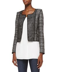 Milly Cropped Open-front Cardigan W Piping - Lyst