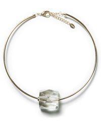 Zara Rigid Necklace with Rhinestone Pendant - Lyst
