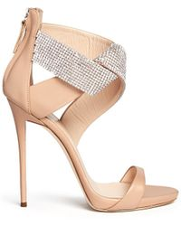 Giuseppe Zanotti 'Coline' Strass Pavé Twist Band Leather Sandals beige - Lyst