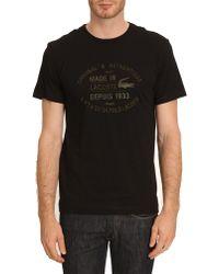Lacoste Black Roundneck Tshirt with Khaki Writing - Lyst