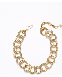 Ann Taylor Pave Circle Necklace - Lyst