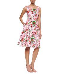 Carolina Herrera Bouquet-Print A-Line Tank Dress - Lyst
