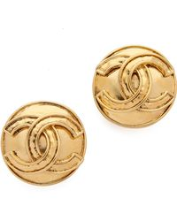 What Goes Around Comes Around Vintage Chanel Cc Clip On Earrings - Gold - Lyst