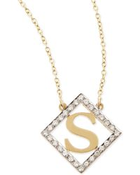 Kacey K - Small Block Initial Pendant Necklace With Diamonds - Lyst