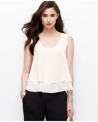 Ann Taylor Layered Cropped Tank - Lyst