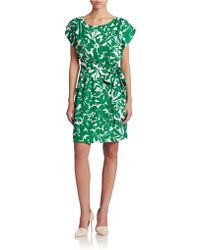 Eliza J Printed Tie Waist Dress - Lyst