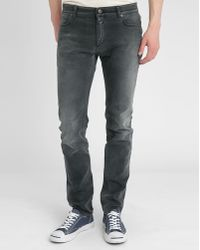 Closed Black Stone Washed Slim-Fit Jeans - Lyst