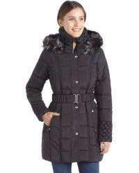 Betsey Johnson Black Quilted Down Filled Faux Fur Hooded Zip and Snap Front Coat - Lyst