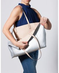 Bungalow 20 - Silver And Nude Reversible Tote In Vegan Leather - Lyst