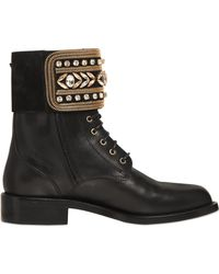 Rene Caovilla 20Mm Swarovski Leather Biker Boots black - Lyst