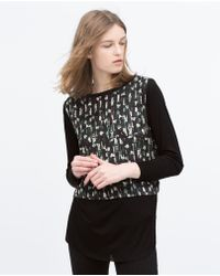 Zara Printed Combined T-Shirt - Lyst