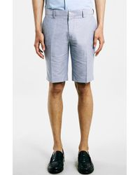 Topman Blue Oxford Trouser Shorts blue - Lyst