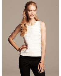 Banana Republic Faux Leather Stripe White Ponte Top Cocoon - Lyst