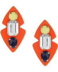 Topshop Opaque Stone Plastic Earrings  Orange - Lyst