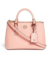 Tory Burch Robinson' Micro Double Zip Leather Tote - Lyst