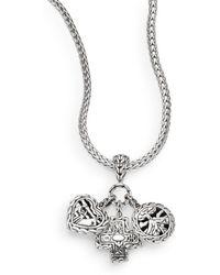 John Hardy Palu Sterling Silver Triple Pendant Necklace - Lyst