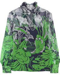 Miu Miu Floral-print Crinkled Silk-chiffon Blouse - Lyst
