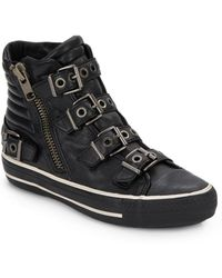 Ash Vangelis Buckled Leather High Top Sneakers - Lyst