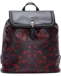 Alexander McQueen Black Leather Padlock Backpack - Lyst