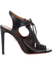 Aquazzura Cutout Jade Sandals black - Lyst