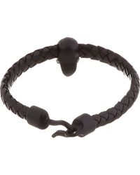 Alexander McQueen Black Braided Leather Bracelet - Lyst