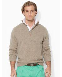 Ralph Lauren Half-Zip Mockneck Sweater - Lyst
