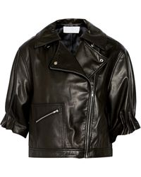 Thakoon Addition Cropped Leather Biker Jacket - Lyst
