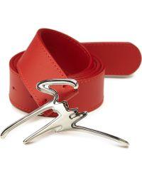 Giuseppe Zanotti Leather Gz Logo Buckle Belt red - Lyst
