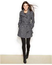 Calvin Klein Fauxleathertrim Tweed Doublebreasted Belted Coat - Lyst
