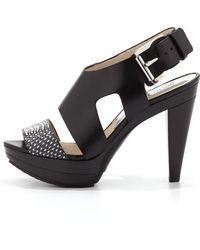 Michael Kors Carla Leather Platform Sandal - Lyst