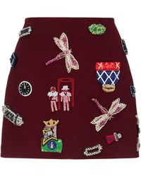 Mary Katrantzou Mini Skirt Burgundy Symbols Embellished - Lyst